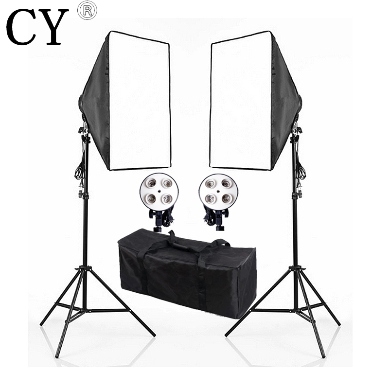 Lightupfoto 110V Photo Studio 4 Socket Head Softbox Light Stand Kit Continuous Lighting Kits With Free Carry Bag PSK6A-US ashanks 800w studio video red head light with dimmer continuous lighting bulb free shipping