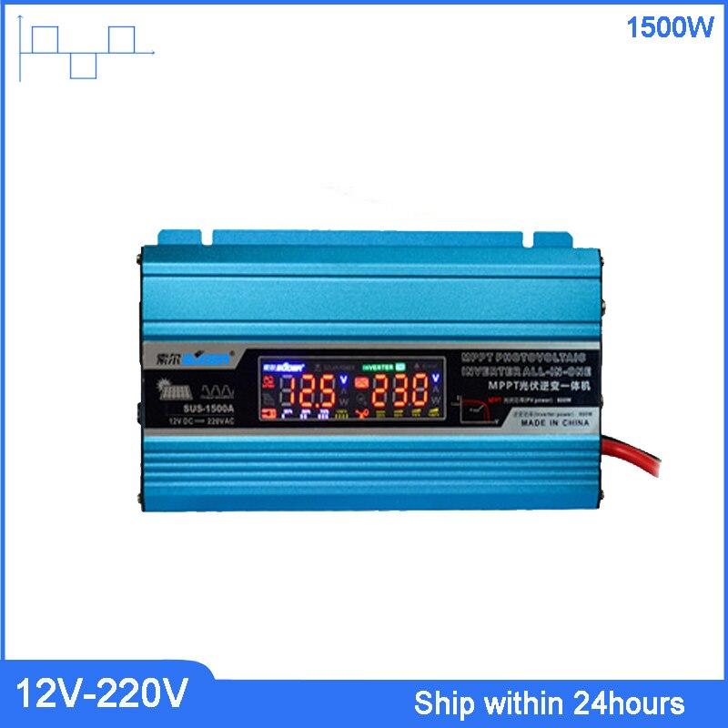 Nouveau onduleur à onde sinusoïdale modifiée 1500W tout-en-un + contrôleur onduleur DC12V à AC220V avec chargeur USB/batterie solaire 20A