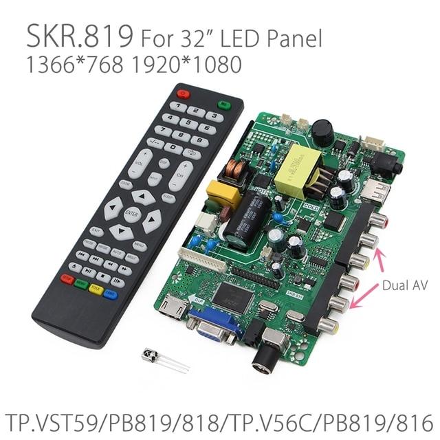 SKR.819 TV/AV/HDMI/VGA/USB LED Controller Board for 32 inch LED Glass Screen Panel replace TP.VST59.PB819/818//TP.V56C.PB819/816