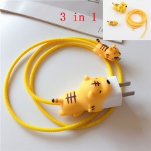 3 in 1 Cable bites Protector for Iphone cable Winder Phone holder Accessory tiger panda rabbit dog cat Animal doll model funny