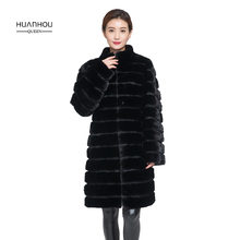 HUANHOU QUEEN کت خز واقعی را برای زنان با یقه ایستاده و مد بلند سبک 2017 جدید