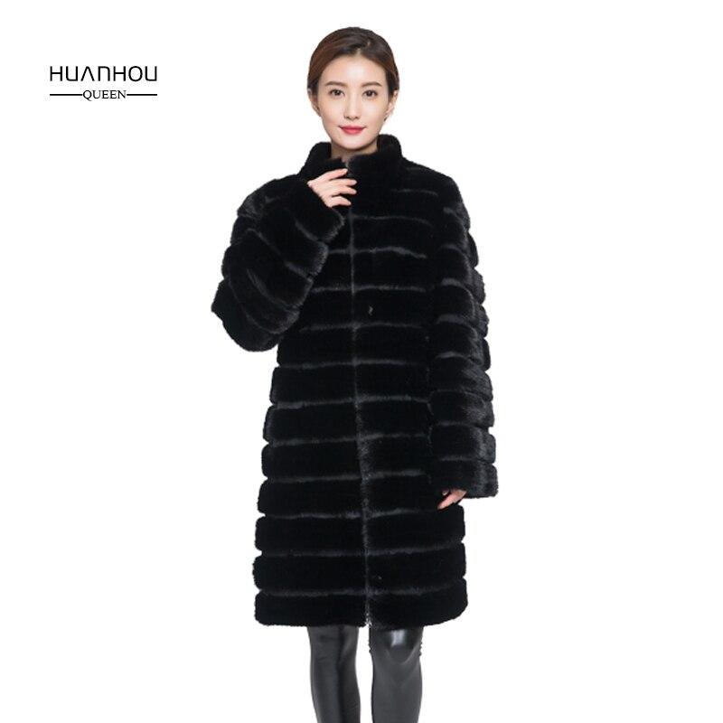 Huanhou reine réel de fourrure de vison manteau pour femmes, style long, collier ou avec capot, extra large, plus la taille femmes manteau d'hiver veste