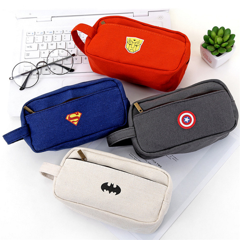 Superhero stationery box high-capacity pencil case school supplies stationery bag canvas pencil case student prize big capacity high quality canvas shark double layers pen pencil holder makeup case bag for school student with combination coded lock
