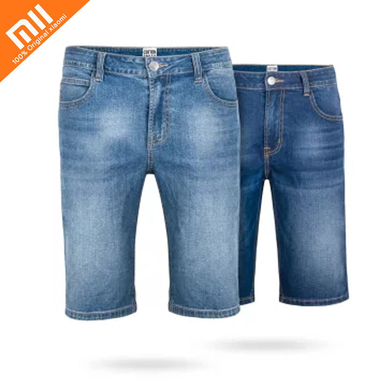 2018 New xiaomi COTTONSMITH fashion denim shorts Summer men's refreshing casual comfort Joker shorts high quality destroyed raw hem denim shorts