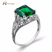 Unique Green CZ Engagement Rings For Women 925 Silver Vintage Austrian Crystal Birthstone Ring Christmas Gift