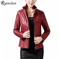 Ryanzhan L-5XL,Jacket Women Plus Size Winter Leather Jacket Women 2017 Spring Jackets Long Sleeve Winterjas Dames Manteau Femme