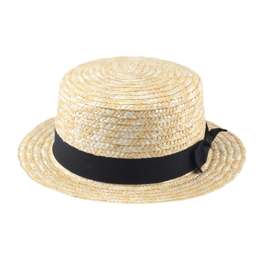 Women Lady Boater Summer Fedora hat  Beach Ribbon Round Flat Top Beige Straw Fedora Panama Hat Good Package 20
