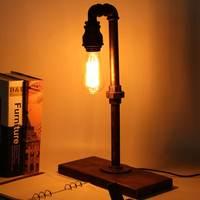 الرجعية خمر الصناعية أنابيب الحديد طاولة مكتب مصباح القراءة الخفيفة ضوء التبديل الجدول مصابيح لغرفة النوم غرفة المعيشة لنا قابس