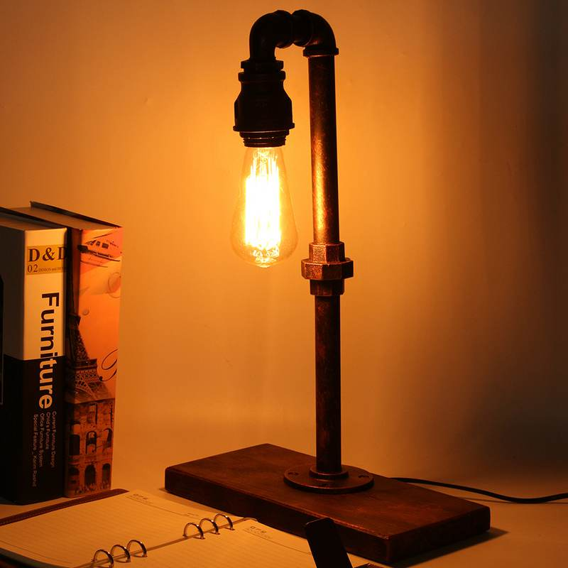 Retro Vintage Industrial Desk Lamp Reading Light Iron Pipe Table Light Switch Table Lamps For Bedroom Living Room US Plug art deco industrial iron butterfly retro water pipe table lamp e27 desk lights reading lamps night light for living room bedroom