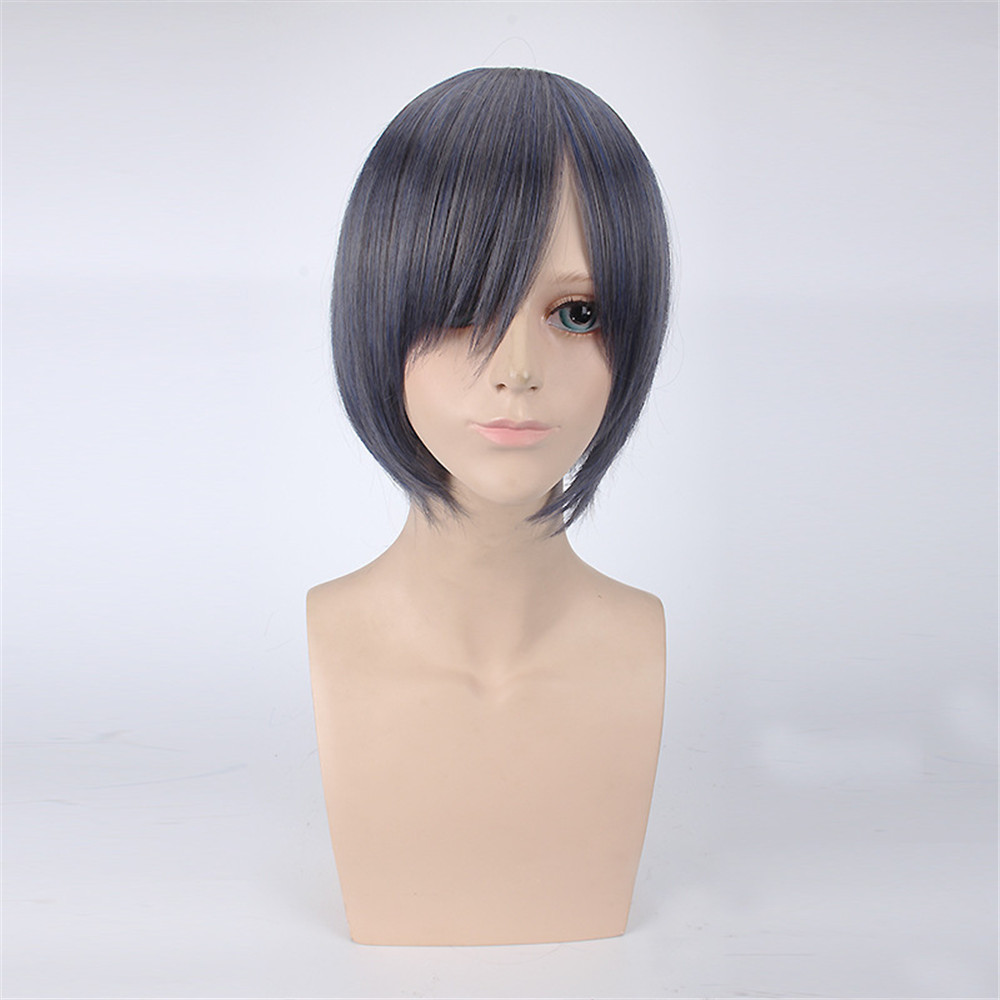 High quality New Black Butler Ciel Phantomhive Cosplay Wigs Halloween,Party,Stage,Play Gray with Blue Short Hair