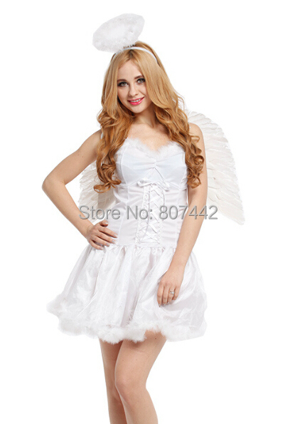 Stage Performances Halloween Costumes Elegant Angel Costume With Big Wings Pure Clear White Dress