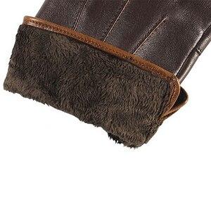 Image 5 - Guantes de piel auténtica de alta calidad para hombre, guante de piel de oveja con pantalla táctil de invierno térmico, para conducir en muñeca, Delgado, EM011