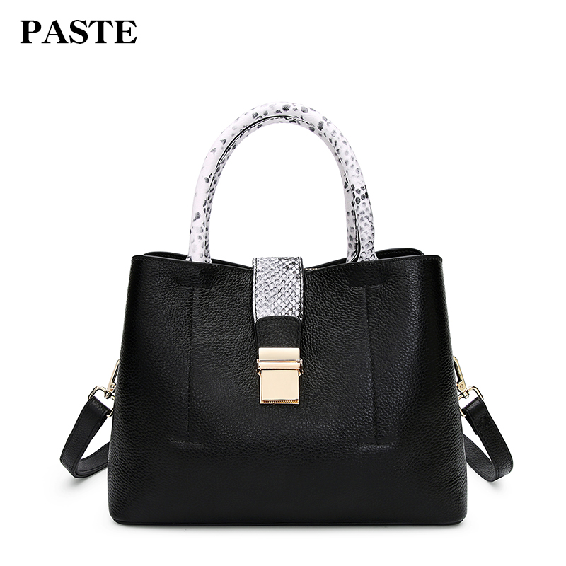 2018 spring and summer new leather handbags cowksin Paste snake Pattern Tote bag leather shoulder Messenger bag tide P3008 europe and the new spring and summer leather handbag bag simple cross head layer cowhide temperament mini bag tote bag