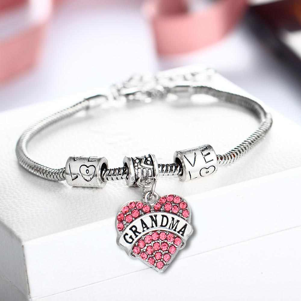 Famille série femmes hommes bijoux amour coeur rose cristal Bracelet Bracelet cadeau maman mamie nièce inspirante chaînes à main