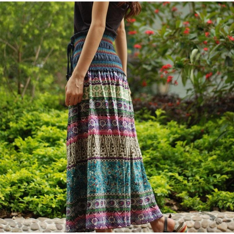 HTB1XkYSSNTpK1RjSZFKq6y2wXXaZ - Boho Floral A-line Women's Maxi Skirt Elastic High Waist Sashes Vintage Pleated Womens Skirts Summer Fashion Clothes Female