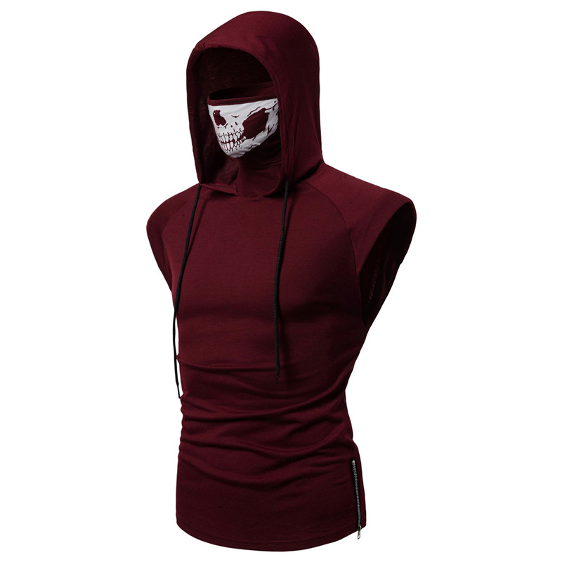 2019 Drawstring Creative Scare Mask Hoodies For Man High Quality Short Sleeve Fitness Zipper Skull Hoodies Sweatshirt Mens Tops in T Shirts from Men 39 s Clothing