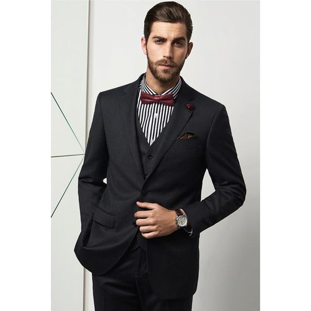 huge discount 903af 2f792 Noir 2 boutons cran revers sur mesure slim fit costumes de mariage pour  hommes sur mesure