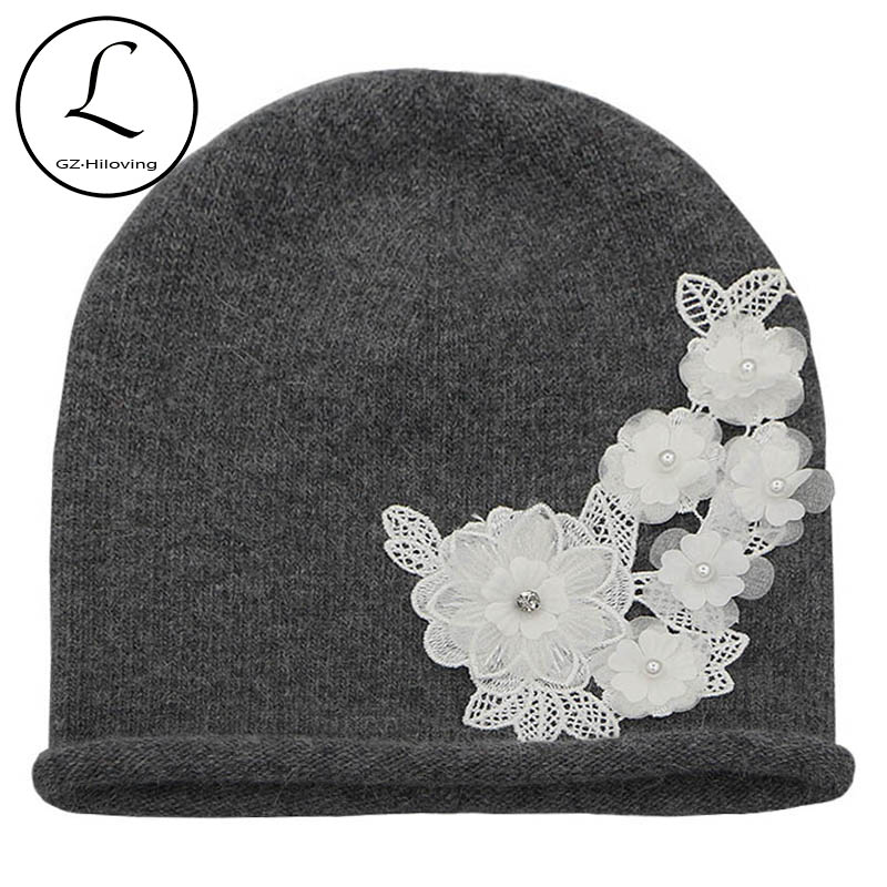 GZHILOVINGL 2017 New Ladies Warm Winter Wool Rabbit Fur Knitted Beanie Hat Cap Beautiful Lace Flower Skullies Beanies For Women princess hat skullies new winter warm hat wool leather hat rabbit hair hat fashion cap fpc018