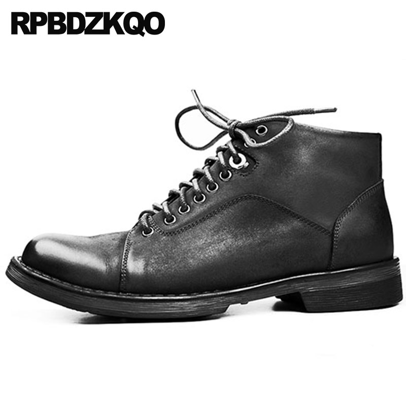 Genuine Leather Black Lace Up Retro Combat Boots Military Army Booties High Top Italian Men Autumn Shoes Full Grain Designer high top sneakers designer shoes men quality outdoor autumn trainer genuine leather short full grain lace up booties black boots