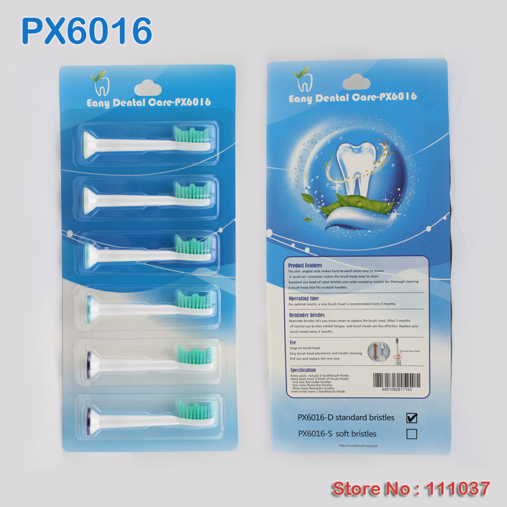 High Quality CE RoHS 600pcs Lot 1pack 6pcs PX6016 Compatible HX6013 HX6011 Electric Toothbrush Heads Standard