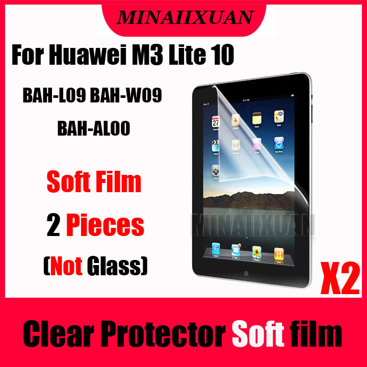 2Pcs Clear Screen Protective Soft Film (NOT Glass) For <font><b>Huawei</b></font> <font><b>MediaPad</b></font> <font><b>M3</b></font> <font><b>Lite</b></font> <font><b>10</b></font> BAH-L09 BAH-W09 BAH-AL00 <font><b>10</b></font>.<font><b>1</b></font>