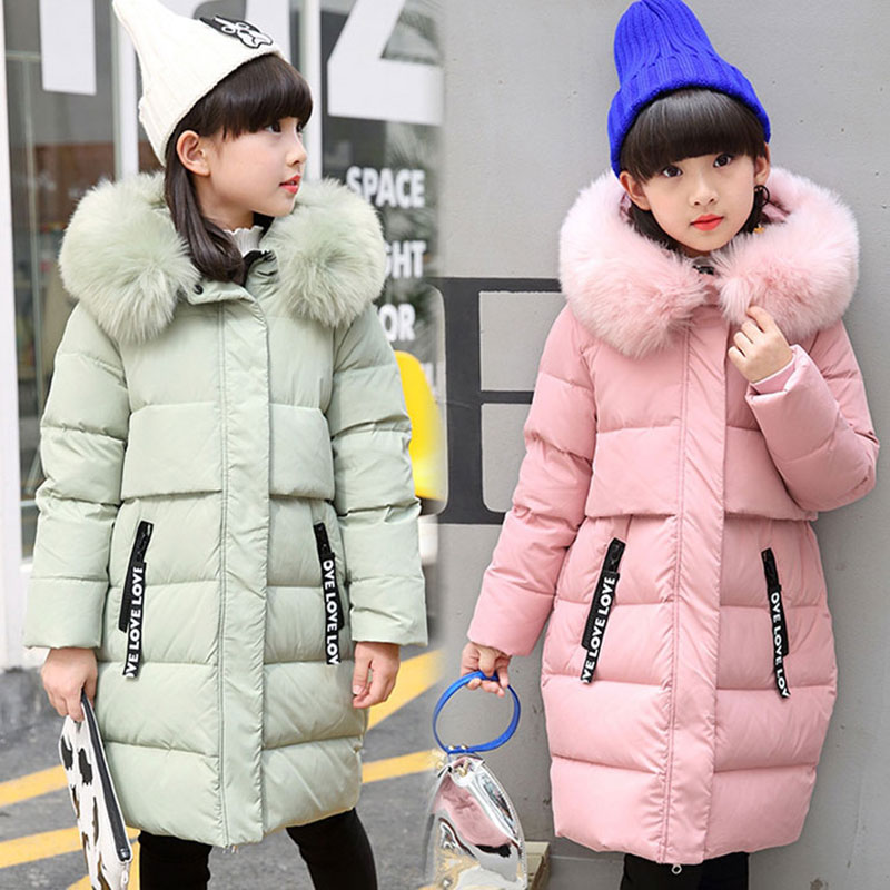 -30 Degree Russina Winter Down Jacket Overalls for Child Girls Fashion Long Version Snowsuit Coats Warm Outerwear Clothing 4-13T a15 girls jackets winter 2017 long warm duck down jacket for girl children outerwear jacket coats big girl clothes 10 12 14 year