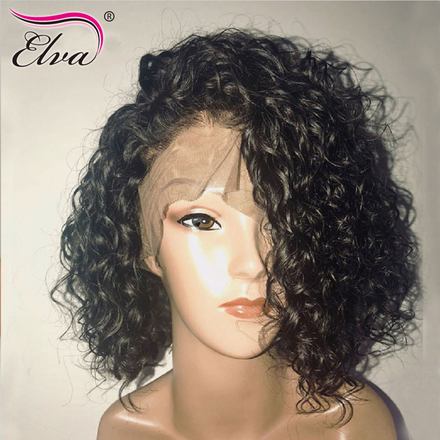 Elva Hair Short Human Hair Bob Wigs For Black Women Curly Lace Front Wigs Pre Plucked