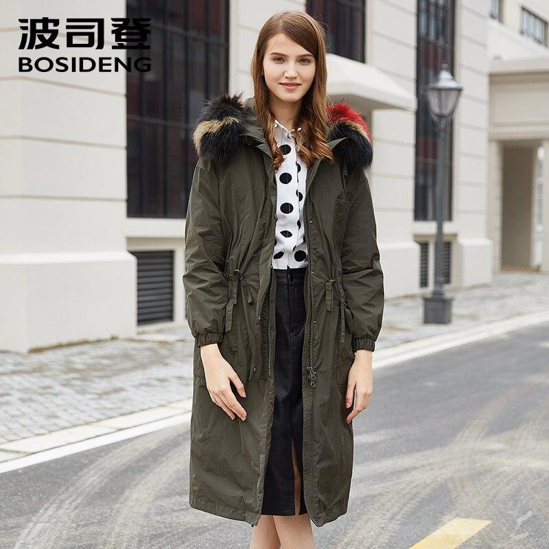 BOSIDENG women winter thick   down     coat   X-Long   down   jacket colored natural big fur collar Military Green thick parka B1601552