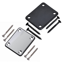 Electric Guitar Neck Plate with Screws Black Chrome for Fender Strat Guitar Replacement