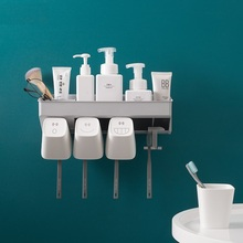 Creative Toothbrush Holders with Tooth Cups for 2Person 3Person 4Person Nordic Style Simple Design Bathroom Storage Organizer