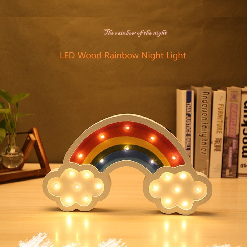 Cute Wooden Big Rainbow Night Light LED Cartoon Kids Children Baby Wall Night Lamp Gift Home Decora Table Lamps Battery Powered