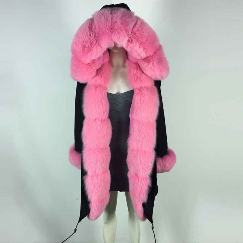 New Cool Design long jacket with Pink color faux fur lining fox fur collar Cuff Winter Coat