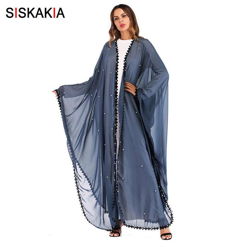 Siskakia негабаритная Абая для мусульманских женщин серый синий мода кружева лоскутное Бисероплетение халаты кардиган Jubah Весна 2019 женский