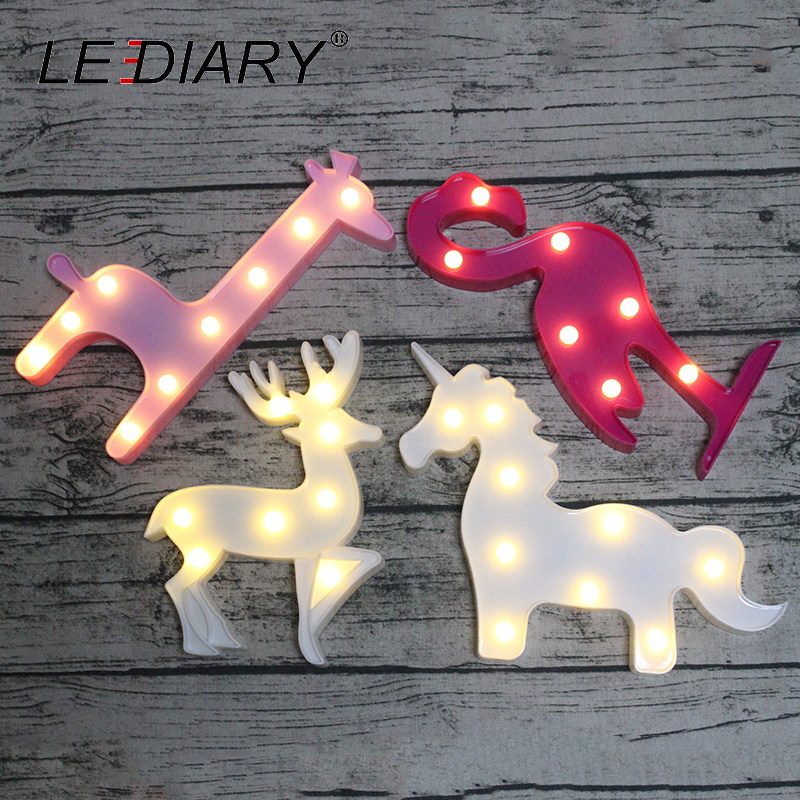 LEDIARY Novelty Animal LED 3D Night Light Unicorn Flamingo Reindeer Giraffe Decoration Children's Room Bedside Lamp Kids Toy AA