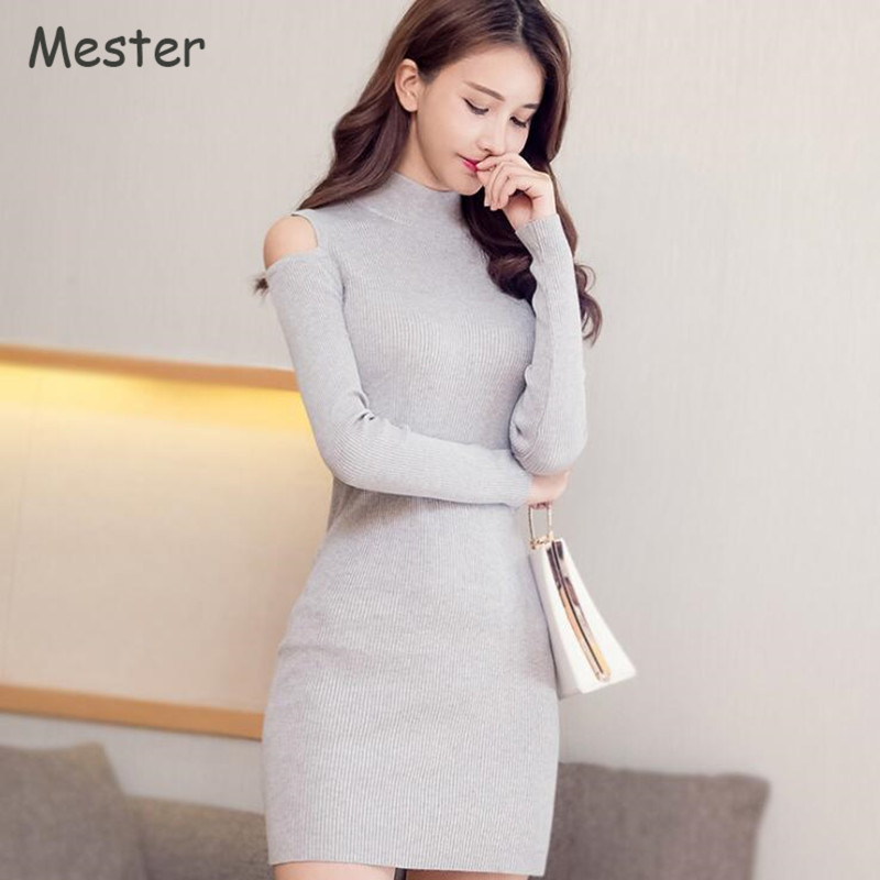 Korean Fashion Women Spring Long Sleeve Knit Dress Stand Collar Off Shoulder Mini Dress Solid Color Slim Knitted Sweater Dresses