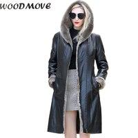 Для женщин из натуральной кожи теплые зимние куртки длинный рукав овчины леди из натуральной кожи пальто