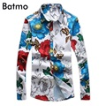 2017 chegada nova 100% algodão estampado floral casual camisa dos homens, camisa da forma dos homens, 4 color plus-tamanho m, l, xl, xxl, 3xl, 4xl, 5xl c17025