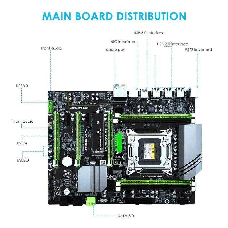 X79T DDR3 настольных ПК материнская плата LGA 2011 Процессор компьютер 4 канала x79 Turbo Игровая плата SATA 3