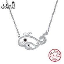 Effie Queen 925 Sterling Silver Women Necklaces 2 Cute Whale Animal Swim Pendant With AAA CZ Hallow Necklace Jewelry Kolye BN125 tongzhe sterling silver 925 necklaces jewelry round cz turkish evil eye necklace women necklace pendant fine jewelry kolye sale