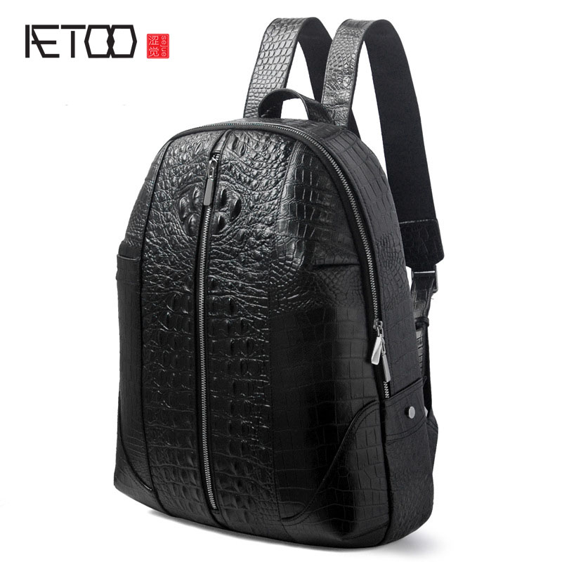 AETOO New leather men bag crocodile pattern shoulder bag head layer leather leisure backpack business computer bag aetoo shoulder bag male leather backpack student bag fashion business computer bag head layer cowhide men and women backpack