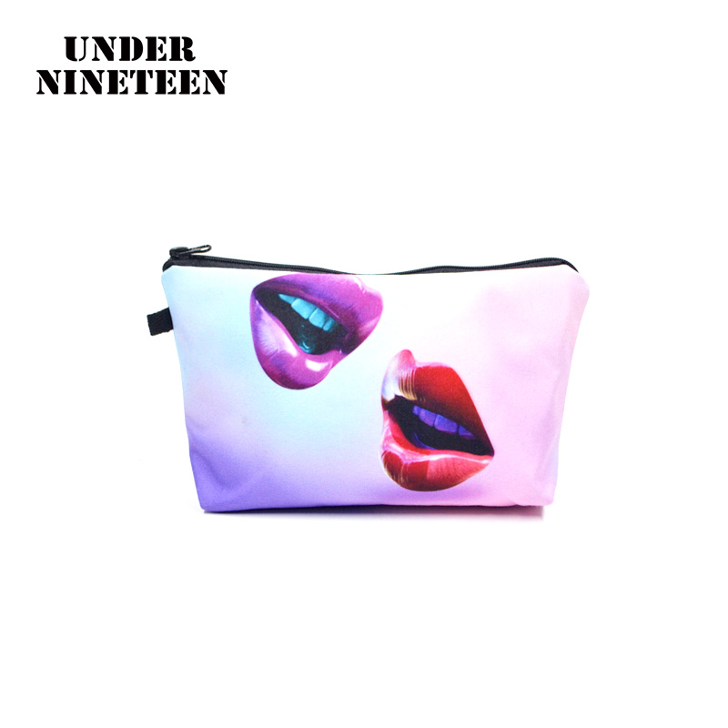 Under Nineteen 2017 Lip Make Up Bags 3D Printing Women Travel Cosmetic Bags Large Capacity Toiletry Organizer Pouch Wholesale