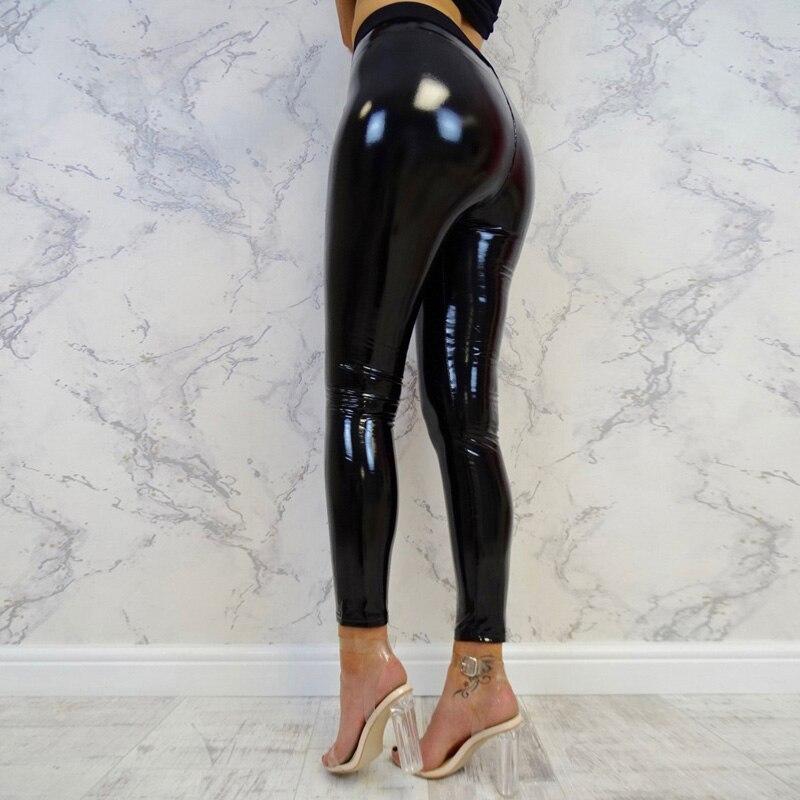 Wetlook Ladies High Waist Pants   Leggings   Slim Fit Trouser PU Leather Sexy Sports
