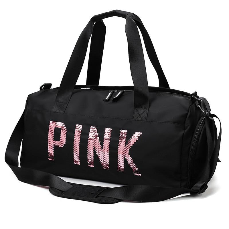2019 Newest Design Sequins PINK Letters Gym Fitness Sports Bag Shoulder Crossbody Bag Women Tote Handbag