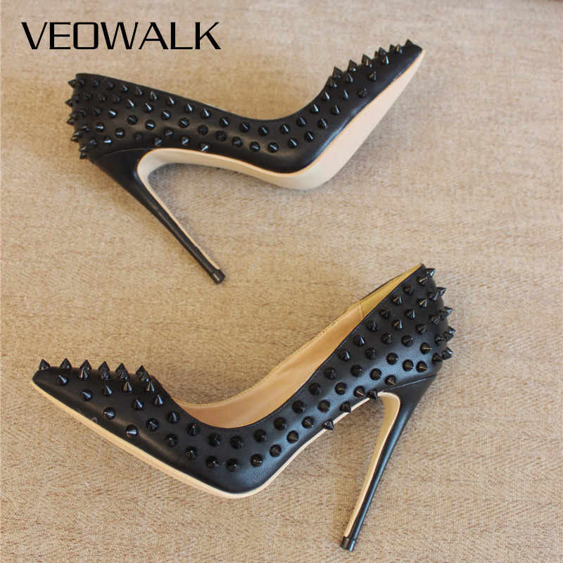 Veowalk Schwarz Matte Frauen Voller Punk Nieten Spitz High Heels Sexy Damen Spikes Stilettos Pumpen Frau Club Party Schuhe