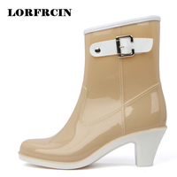 Rain Boots Women Waterproof Shoes Ankle Rubber Boots High Heel Rainboots Plus Size Botines Mujer Femininas