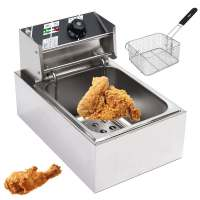 Heavy Duty Stainless Steel Electric Deep Fryer Commercial Home Kitchen Frying Chip Cooker Basket for Buffalo Wings 6L 2.5KW