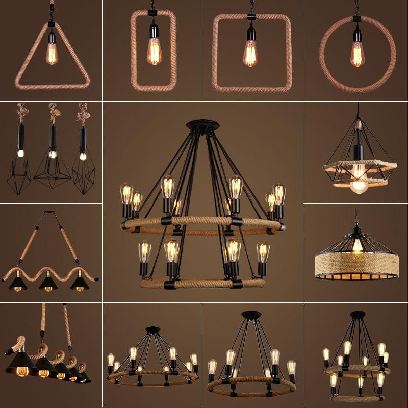 Modern creative design Resin Monkey Loft Vintage Hemp Rope Pendant Light for Home Lighting Bar Cafe Retro Hanging Pendant lamp Pendant Lights     - title=