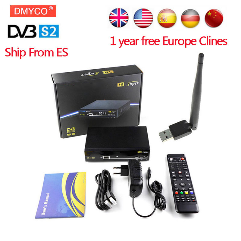 1 Year Europe Spain Italy Arabic 7 Clines Server HD V8 Super DVB-S2 Satellite Receiver Full 1080P USB WIFI Antenna