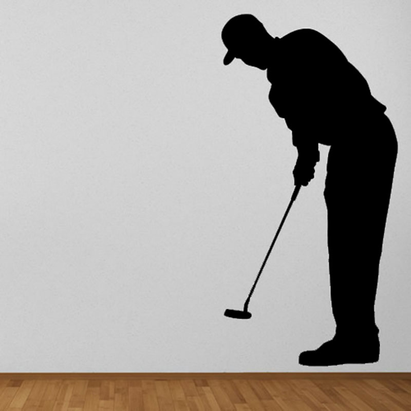 Hot Sale Living Room Sport Silhouette Wall Mural Home Decor Golf Forward Putter Wall Sti ...