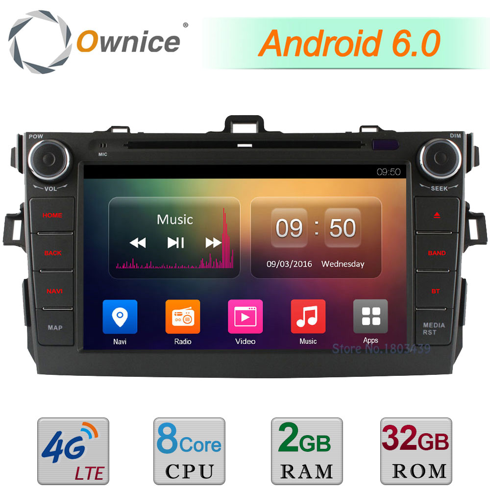 4G WIFI Android 6.0 8 2GB RAM 32GB ROM Octa Core DAB BT Car DVD Player Radio For Toyota Corolla 2006 2007 2008 2009 2010 2011